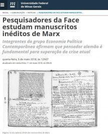 Pesquisadores da FACE estudam manuscritos inéditos de Marx